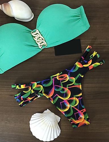 Women's Color Block Print Bikini Swimwear Green