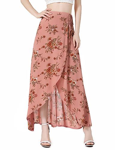 Dámské Vintage Cikánský Asymetrický Sukně Polyester Květinový