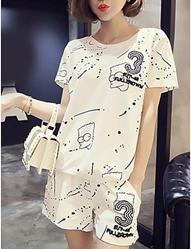 Feminino Japonesa/Curta Calça Conjuntos Casual Moda de Rua Verão,Letra Decote Redondo Manga Curta