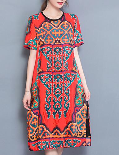 Mulheres Vintage Solto Reto Vestido - Fenda Estampado Médio