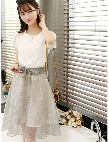 Dámské Jednobarevné Běžné/Denní Jednoduchý Trička Sukně Obleky-Léto Kulatý Krátký rukáv Mikro elastické