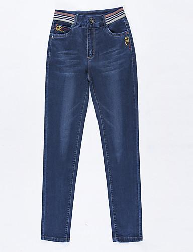 Damen Street Schick Hohe Hüfthöhe Unelastisch Jeans Skinny Hose Solide