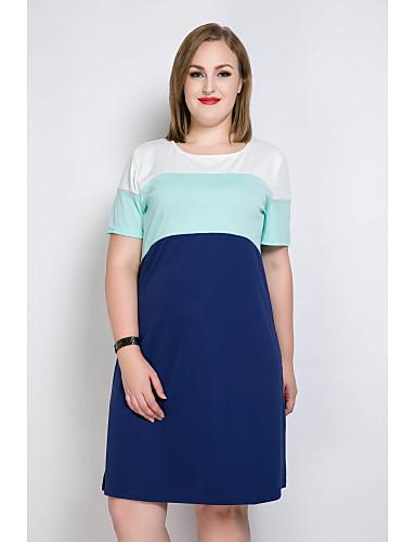 billige Kjoler-Dame Store størrelser Ferie Skiftet / T skjorte / Tunik Kjole - Fargeblokk / Lapper Knelang