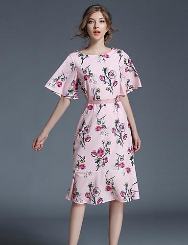 Damen Retro / Street Schick / Anspruchsvoll A-Linie Kleid - Vintage Stil / Retro, Blumen Knielang