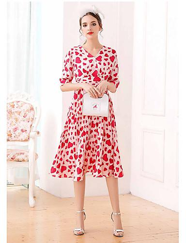 Damen Chiffon Swing Kleid-Lässig/Alltäglich Druck V-Ausschnitt Midi ½ Länge Ärmel Polyester Sommer Hohe Hüfthöhe Mikro-elastisch Dünn