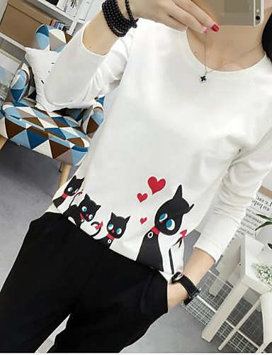 Damen Solide - Freizeit Ausgehen Baumwolle T-shirt Druck Katze