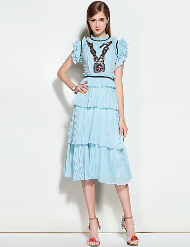 MARY YAN&YU Women's Party Daily Going out Cute Street chic A Line Dress,Solid Stand Midi Sleeveless Polyester Spring Summer Mid Rise Inelastic Medium