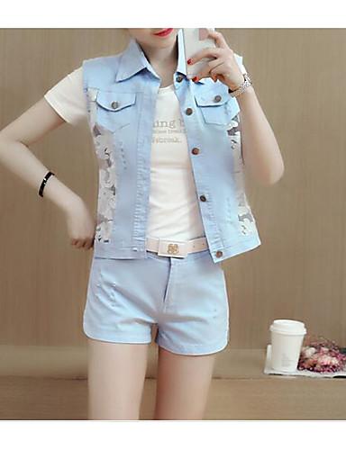 Damen einfarbig Einfach Lässig/Alltäglich Muskelshirt Hose Anzüge,Hemdkragen Sommer Ärmellos Mikro-elastisch