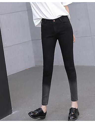 Dámské Jednoduchý strenchy Džíny Kalhoty Vypasovaný Mid Rise Jednobarevné