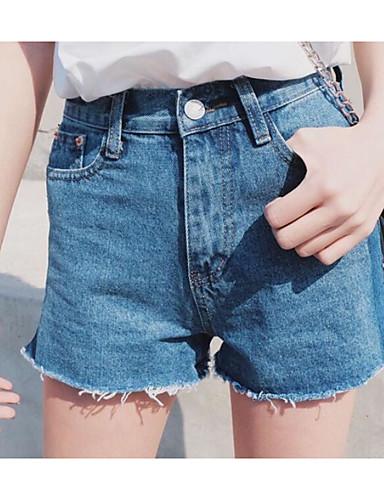 Damen Freizeit Hohe Hüfthöhe Schlank Kurze Hosen Jeans Hose Solide
