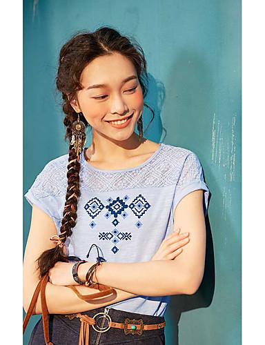 Naiset Lyhythihainen Pyöreä kaula-aukko Puuvilla Yksinkertainen Päivittäin Kausaliteetti T-paita,Geometrinen printti