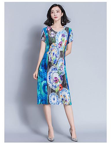 Damen Hülle Kleid-Ausgehen Lässig/Alltäglich Verziert Rundhalsausschnitt Midi Kurzarm Polyester Sommer Mittlere Hüfthöhe Mikro-elastisch