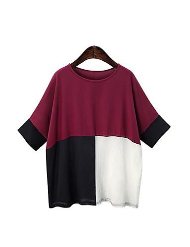 Dámské Jednobarevné Běžné/Denní Jednoduché Tričko Bavlna Kulatý Krátký rukáv