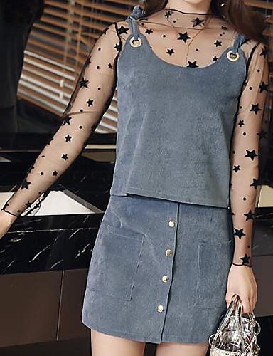 Damen A-Linie Kleid-Lässig/Alltäglich Geometrisch Rundhalsausschnitt Übers Knie Langarm Polyester Frühling Mittlere Hüfthöhe Unelastisch