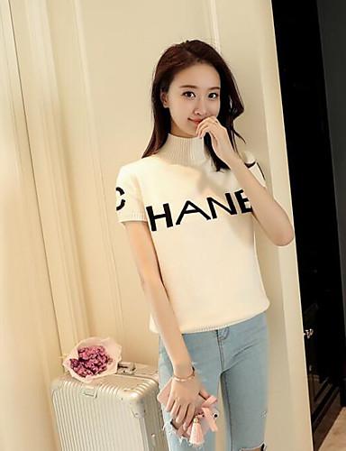 Damen Buchstabe Einfach Lässig/Alltäglich T-shirt,Rundhalsausschnitt Kurzarm Baumwolle Dünn