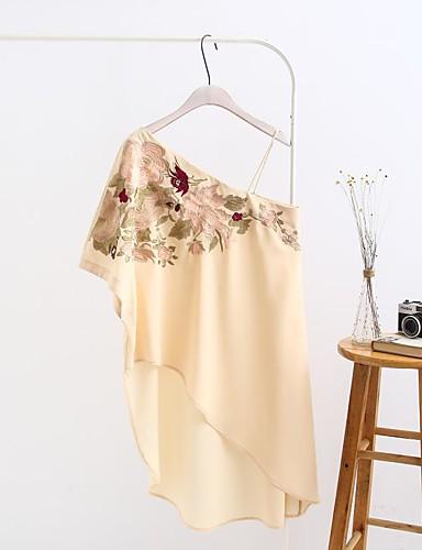 Damen Lose Etuikleid Kleid-Ausgehen Lässig/Alltäglich Einfach Street Schick Druck Ein-Schulter Übers Knie Langarm Seide Baumwolle Sommer