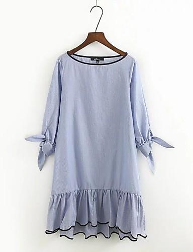 Damen Lose Etuikleid Kleid-Ausgehen Lässig/Alltäglich Einfach Street Schick Gestreift Rundhalsausschnitt Übers Knie Seide Baumwolle