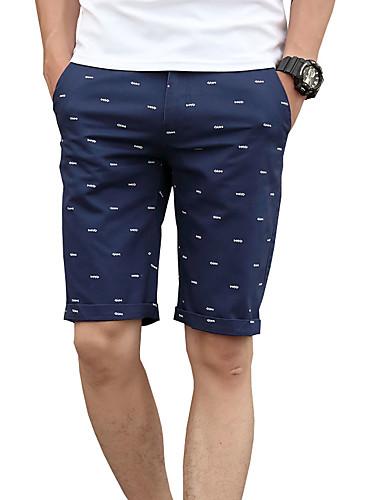 Homens Fofo Activo Moda de Rua Tamanhos Grandes Algodão Delgado Shorts Chinos Calças - Sólido Poá Estampado