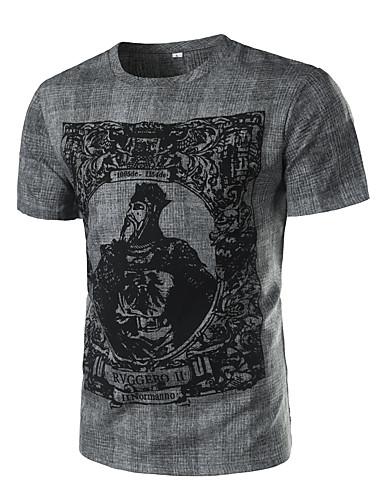 Pánské Geometrický Běžné/Denní Dovolená Velké velikosti Sexy Vintage Punk & Gothic Tričko-Léto Podzim Bavlna Podšívka Kulatý Krátký rukáv