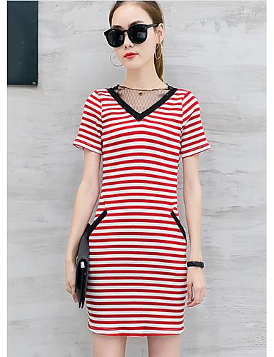 Damen T Shirt Kleid-Lässig/Alltäglich Gestreift V-Ausschnitt Übers Knie Kurzarm Baumwolle Sommer Mittlere Hüfthöhe Mikro-elastisch Dünn