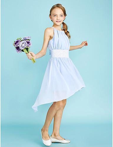 Eng anliegend Schmuck Asymmetrisch Chiffon Junior-Brautjungferkleid mit Paillette durch LAN TING BRIDE®