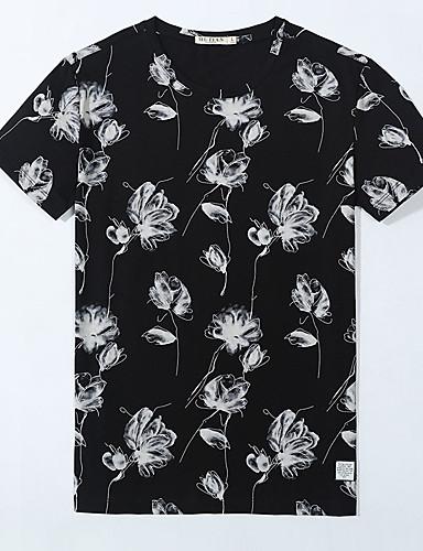 Herren Druck Einfach Lässig/Alltäglich T-shirt,V-Ausschnitt Sommer Kurzarm Baumwolle Dünn