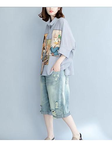 Damen Gestreift Geometrisch Einfach Lässig/Alltäglich Hemd,Hemdkragen Langarm Baumwolle