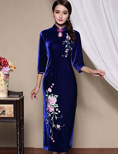 女性用 プラスサイズ シース ドレス - スリット, 刺しゅう マキシ スタンド