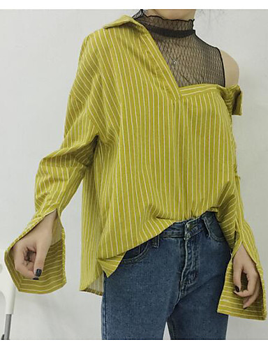 Women's Casual/Daily Simple T-shirt,Striped V Neck Long Sleeves Cotton