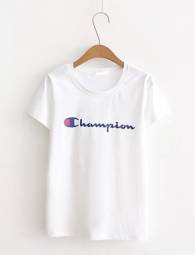 Bomull Medium Kortermet,Rund hals T-skjorte Trykt mønster Sommer Enkel Gatemote Ut på byen Fritid/hverdag Dame