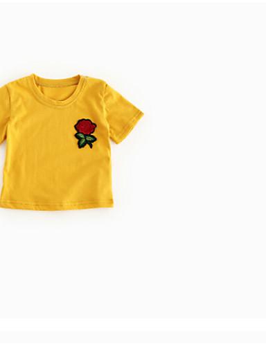 Baby Jente T-skjorte Ensfarget Sløyfe Hvit Grå Gul