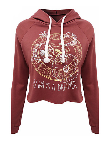 Women's Long Sleeves Cotton Hoodie - Letter, Print