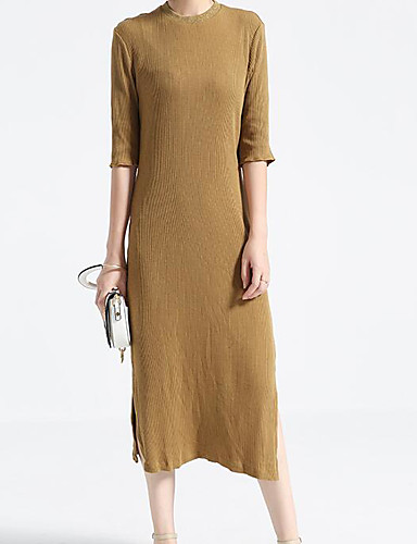 Women's Casual/Daily A Line Sheath Dress,Solid Round Neck Midi Half Sleeves Cotton Polyester Summer Mid Rise Micro-elastic Medium