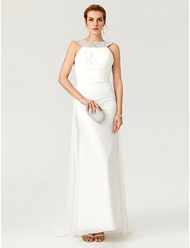 Tubinho Bateau Neck Cauda Escova Chiffon Evento Formal Vestido com Detalhes em Cristal Pregueado de TS Couture®