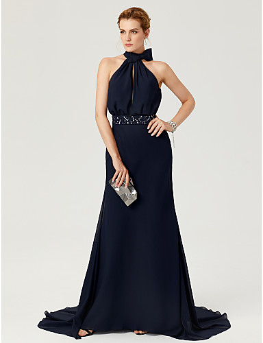 Sheath / Column High Neck Court Train Chiffon Cocktail Party / Formal Evening Dress with Beading / Bow(s) / Sash / Ribbon by TS Couture®