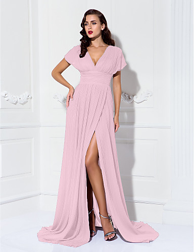 dff8767010b9f عامودي V رقبة ذيل مثل الفرشاة شيفون حفلة رسمية فستان مع روش   طيات بواسطة  TS Couture®