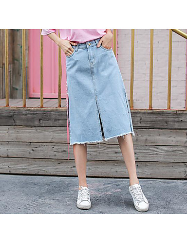 Women's Going out Knee-length Skirts,Cute A Line Split Solid Summer