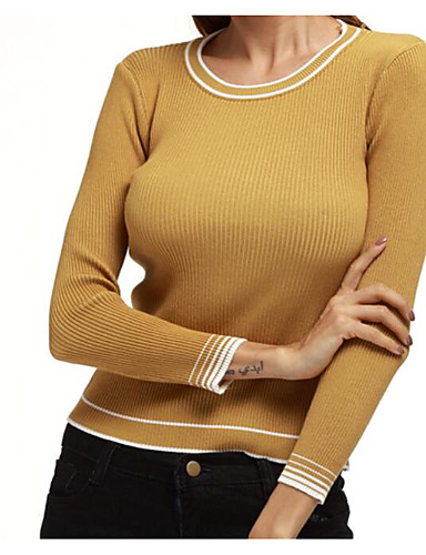 Women's Work Simple / Street chic Long Sleeve Wool / Cotton Pullover - Solid Colored / Striped / Fall / Winter