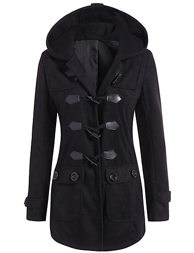 Men's Daily Casual Winter Regular Trench Coat,Solid Hooded Polyester