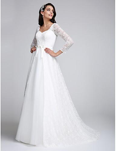 А-силуэт V-образный вырез Со шлейфом средней длины Кружево по всей поверхности Свадебные платья с Кружева от LAN TING BRIDE®