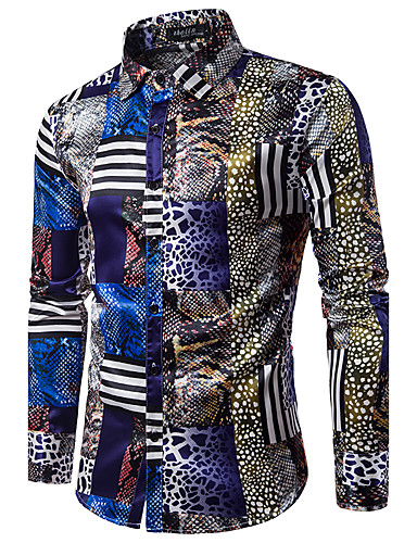 Men's Party Chinoiserie Cotton Slim Shirt - Abstract Print / Long Sleeve