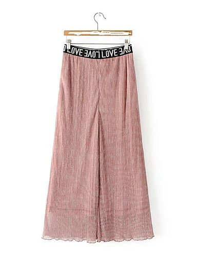 Women's Mid Rise Micro-elastic Wide Leg Pants,Street chic Solid Letter Spring Summer