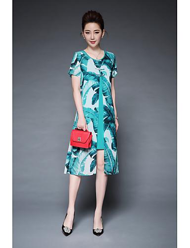 YBKCP Women's Vintage Street chic Sheath Swing Dress Print