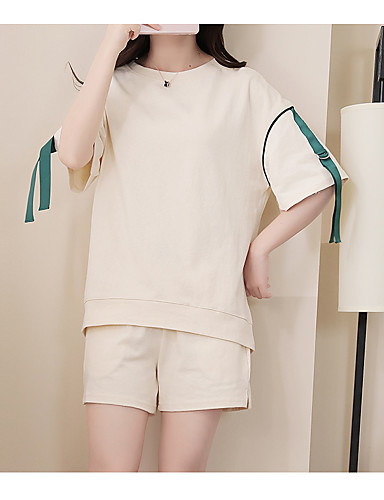 Women's Daily Casual Casual Summer T-shirt Pant Suits,Solid Round Neck Short Sleeve 100%Wool