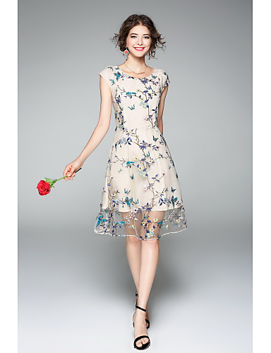 Women's Party Going out Street chic Sophisticated A Line Sheath Dress,Embroidered Round Neck Knee-length Short Sleeves Polyester Summer