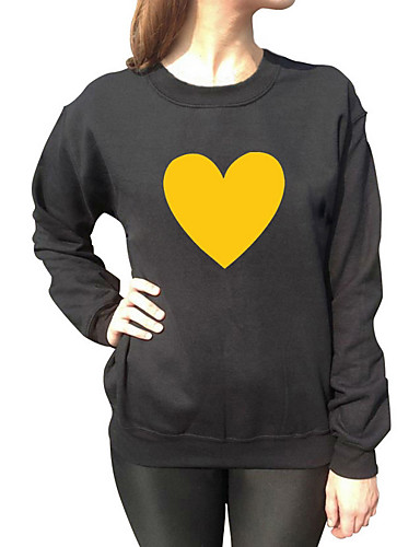 Women's Going out Sweatshirt Solid Print Round Neck Micro-elastic Polyester Long Sleeve Fall Spring