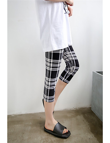 Women's Mid Rise Stretchy Skinny Slim Pants,Simple Geometric Polyester Summer
