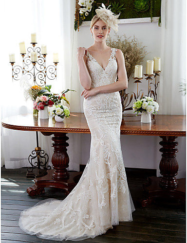 Mermaid / Trumpet V Neck Sweep / Brush Train All Over Lace Made-To-Measure Wedding Dresses with Appliques / Buttons by LAN TING BRIDE®