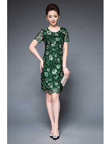 Women's Party Work Vintage Street chic Sheath Dress,Embroidered Round Neck Above Knee Short Sleeves Polyester Summer High Rise Inelastic