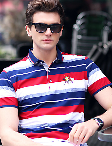 Men's Work Casual Plus Size Cotton T-shirt - Solid Colored / Striped Shirt Collar / Short Sleeve